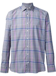 Etro Casual Checked Shirt Blue
