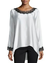 Go Silk Long Sleeve Silk Tunic W Lace Trim Women's