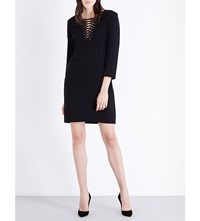 The Kooples Lace Up Collar Crepe Dress Ecru Black