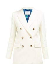 Racil Harry Double Breasted Cotton Blend Tuxedo Jacket Ivory