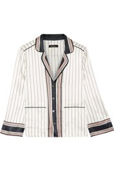 Kate Moss For Equipment Lake Striped Silk Satin Shirt White