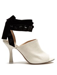 Attico Pamela Open Toe Canvas Mules Black Cream