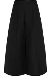 Valentino Wool Crepe Wide Leg Culottes Black