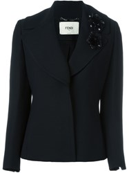 Fendi Flower Applique Blazer Black