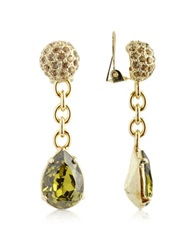 A Z Collection Green Clip On Drop Earrings Gold