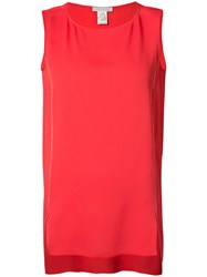 Fabiana Filippi High Low Tank Top Women Silk Acetate 44 Red