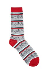 Forever 21 Men Bicycle Stripe Crew Socks