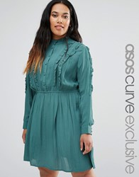 Asos Curve Button Down Skater Dress With Ruffles Green