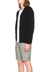 Comme Des Garcons Play Lambswool Cardigan With Small Black Emblem Sleeve In Black