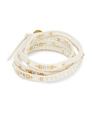 Chan Luu Crystal And Leather Wrap Bracelet White Mix