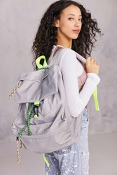 Urban Outfitters Nylon Bungee Flap Backpack Grey