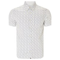 Pretty Green Byland Repeat Paisley Short Sleeve Shirt White