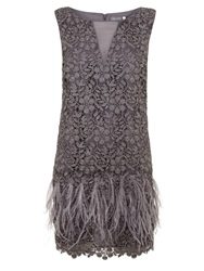 Mint Velvet Lace Feather Dress Smoke Grey