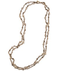 Carolee Gold Tone Pave And Imitation Pearl Beaded Rope Necklace