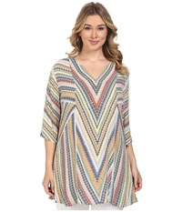 Nic Zoe Plus Size Chevron Tunic Multi Women's Blouse