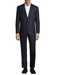 Saks Fifth Avenue Made In Italy Classic Fit Striped Wool Suit Navy