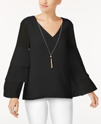 Thalia Sodi Tiered Sleeve Necklace Top Created For Macy's Deep Black