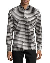 Burberry Kingswell Gingham Check Cotton Twill Shirt Black