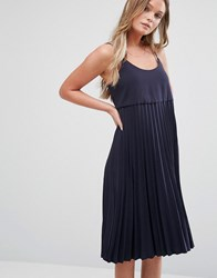 Mango Pleat Detail Midi Dress Navy