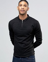 Bellfield Zip Detail Knitted Polo Jumper Navy Black
