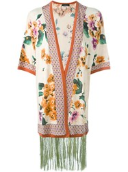 Twin Set Flower Print Kimono Cardigan Pink And Purple