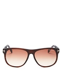 Tom Ford Olivier Square Sunglasses 57Mm Striped Brown Gradient Brown Lenses