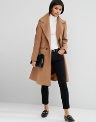 Asos Wool Blend Skater Coat With Raw Edges Camel Stone