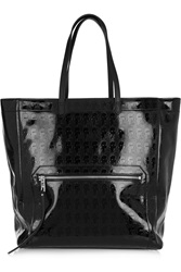 Karl Lagerfeld Kache Embossed Patent Leather Tote Black