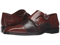 Massimo Matteo Deerskin And Leather Double Monk Castagna Men's Shoes Brown