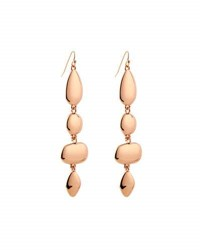 Lydell Nyc Rose Tone Linear Drop Earrings Pink Gold