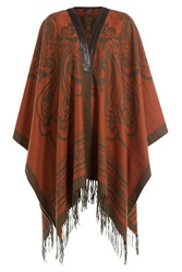 Etro Printed Cashmere Cape With Leather Multicolor