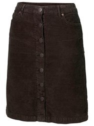 Fat Face Cord Button Through Skirt Brown