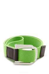 Parke And Ronen Battalion D Ring Leather Trim Belt Green