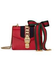 Gucci Sylvie Leather Mini Chain Bag Red