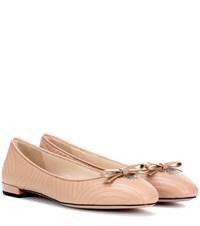 Prada Leather Ballerina Shoes Neutrals
