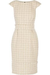 Badgley Mischka Metallic Tweed Dress White