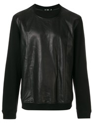 Blk Dnm Contrast Sleeve Sweatshirt Cotton Leather Polyester Black