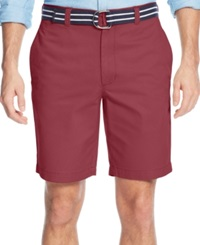 Club Room Belted Flat Front Shorts Rosetta
