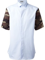 Christian Dior Dior Homme Camouflage Sleeve Shirt Blue