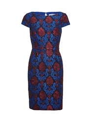Gina Bacconi Corded Embroidery Lace Shift Dress Blue
