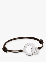 Merci Maman Personalised Sterling Silver 'S Intertwined Bracelet Brown