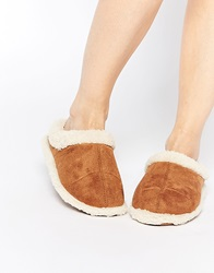 Totes Suedette Sherpa Mule Slippers Tan