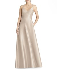 Alfred Sung V Neck Sleeveless Cross Back Sateen Gown Cameo