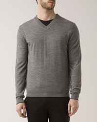 Paul Smith Gray Marl Merino Pullover With V Neck Collar Grey