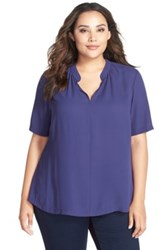 Nydj Short Sleeve Split Neck Blouse Plus Size Midnight