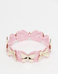 Lipsy Butterfly Stretch Bracelet Light Pink