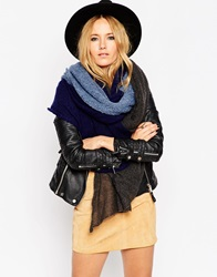 Asos Oversized Knit Scarf In Colourblock Multi