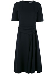Christian Dior Draped Waist Midi Dress Blue