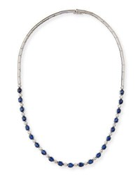 Picchiotti Blue Sapphire And Diamond Necklace In 18K White Gold
