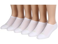 Hue Air Cushion 2 No Show 6 Pack White 100 White Women's No Show Socks Shoes